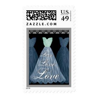 BLUE  Wedding LOVE Bridesmaid Dresses Postage Stamps