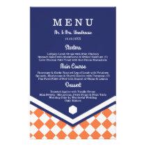 Blue Wedding Menu with Orange Checkered Pattern