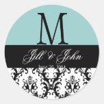 Blue Wedding Monogram Save Date Damask Seal Round Sticker
