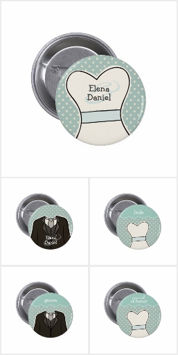 Blue Wedding Party Buttons