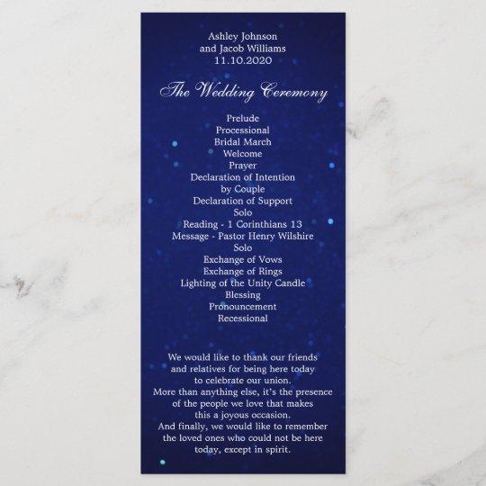 Blue Wedding Program Navy Night Winter Ceremony
