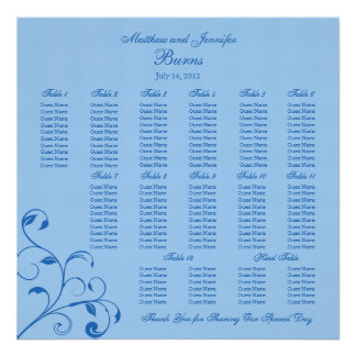 Blue Wedding Reception Guest Seating Chart