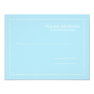 Blue Wedding Response Card with Pearl Border Announcement