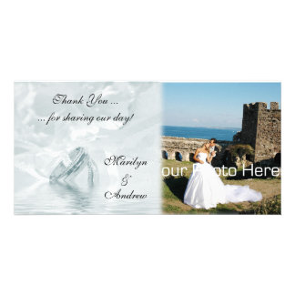 Blue Wedding Rings Photo Card