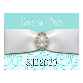 Blue Wedding Save the Date Cards Postcard