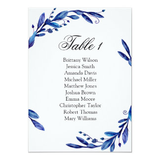 Blue wedding seating chart. Winter table plan Card
