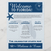 Blue Wedding Starfish Welcome Letter for Florida