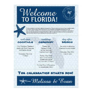 Blue Wedding Starfish Welcome Letter for Florida Letterhead