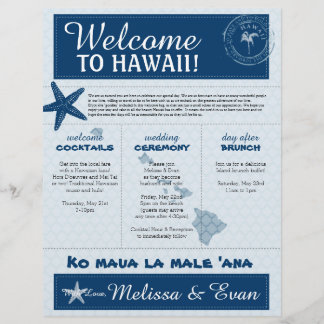 Blue Wedding Starfish Welcome Letter for Hawaii