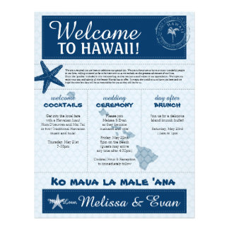 Blue Wedding Starfish Welcome Letter for Hawaii Letterhead