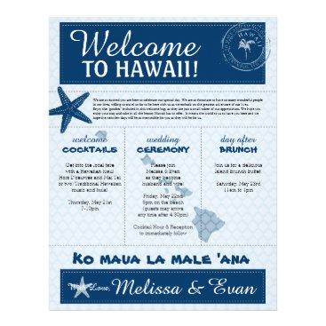 Hawaiian Themed Blue Wedding Starfish Welcome Letter for Hawaii Letterhead