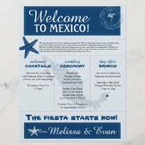 Blue Wedding Starfish Welcome Letter for Mexico