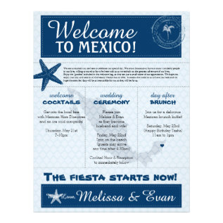 Blue Wedding Starfish Welcome Letter For Mexico Letterhead at Zazzle