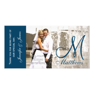 Blue Wedding Thank You Photo Card Template