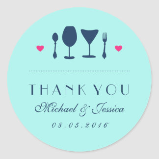 Blue Wedding Thank You Sticker Fork and Spoon
