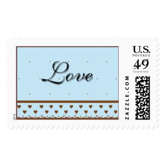 Blue Wedding Theme Love Message Postage Stamp