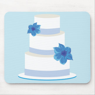 Blue Wedding Tier Cake Mouse Pad
