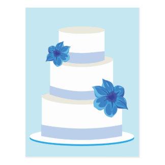 Blue Wedding Tier Cake Postcard