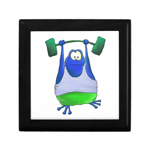 Blue Weightlifting Frog Gift Box