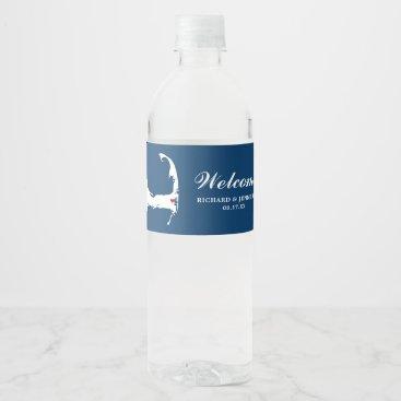 Beach Themed Blue Wequassett Cape Cod Map w/ red heart Wedding Water Bottle Label