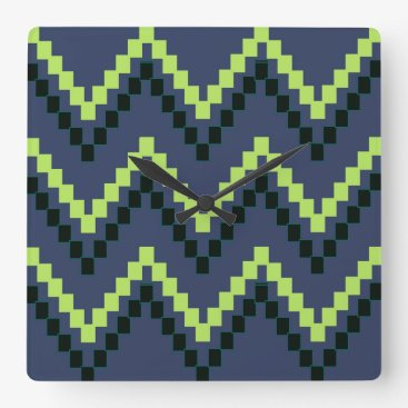 Aztec Themed Blue Western Block Chevron Square Wall Clock