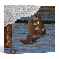 Blue Western Cowboy Lace Wedding 3 Ring Binder