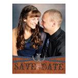 Blue Western & Dark Wood Save the Date Postcard