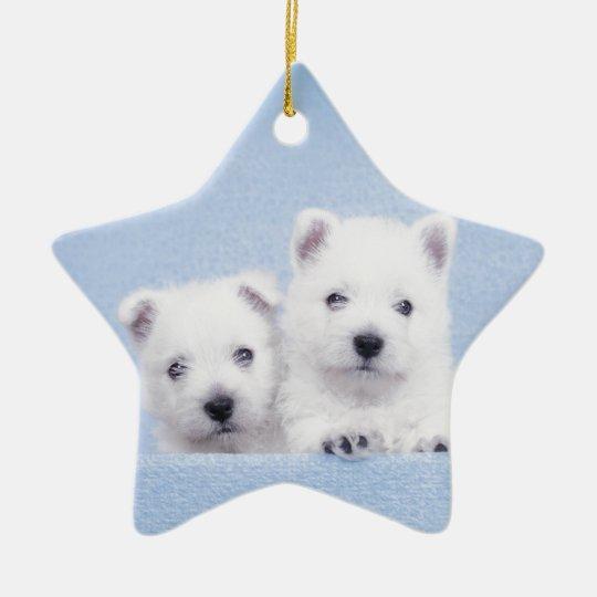 Blue westies ceramic ornament