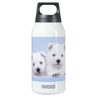 Blue westies insulated water bottle