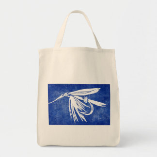 """""""Blue Wet Fly"""" Trout Wet Fly Grocery Tote"""