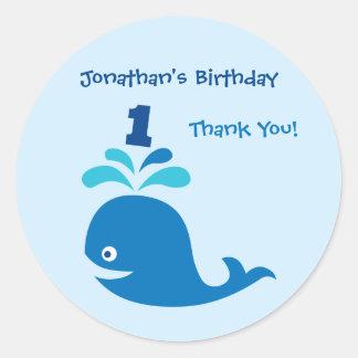 Blue Whale 1st Birthday Favor Sticker