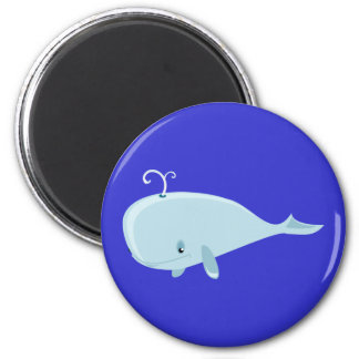 Blue Whale 2 Inch Round Magnet