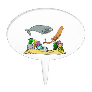 Blue Whale And Giant Squid Cake Topper