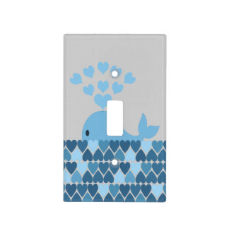 Blue Whale and Hearts Switch Plate Cover