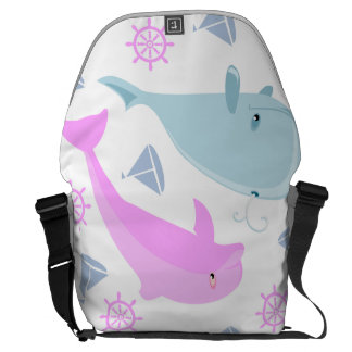 Blue Whale and Pink Dolphin Courier Bag