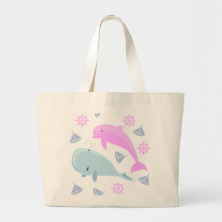 Blue Whale and Pink Dolphin Jumbo Tote Bag