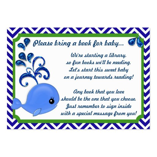 blue whale baby baby shower book insert request large business cards