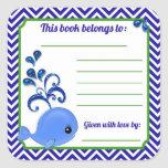 Blue Whale Baby Baby Shower Book Plate Stickers Sq