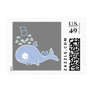 Blue Whale Baby Boy Birth Announcement Postage