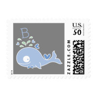 Blue Whale Baby Boy Birth Announcement Postage