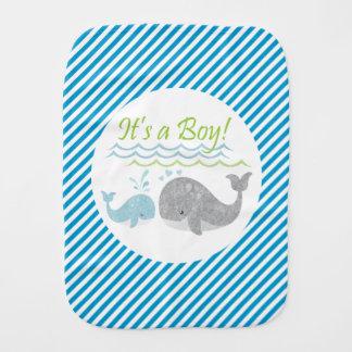 Blue Whale Baby Boy Burp Cloth