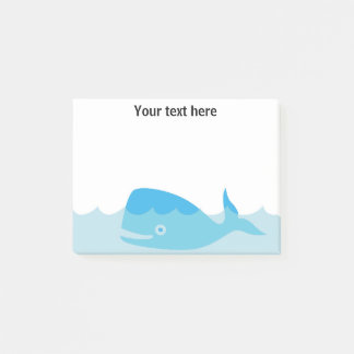 Blue Whale Baby Boy Shower Post It Note