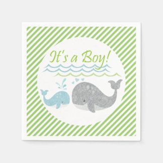 Blue Whale Baby Shower Paper Napkins