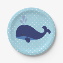 Blue Whale Baby Shower Paper Plates