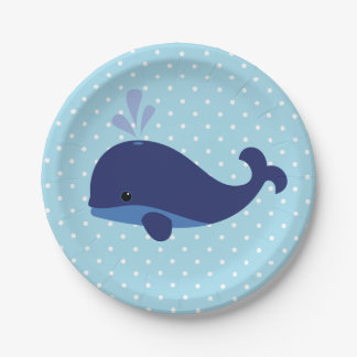 Great Blue Whale Baby Shower Paper Plates