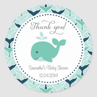 Blue Whale Baby Shower Sticker