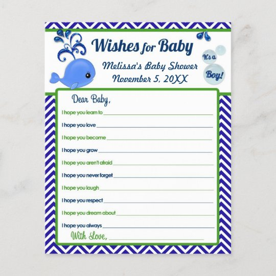 Blue Whale Baby Shower Wishes For Baby Advice