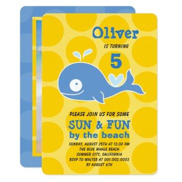Beach Themed Blue Whale Beach Party Photo Boy's Birthday Invite