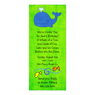 Blue Whale Birthday Party Invitation