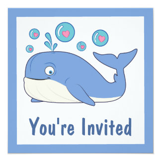 Blue Whale Blowing Heart-Filled Bubbles Card